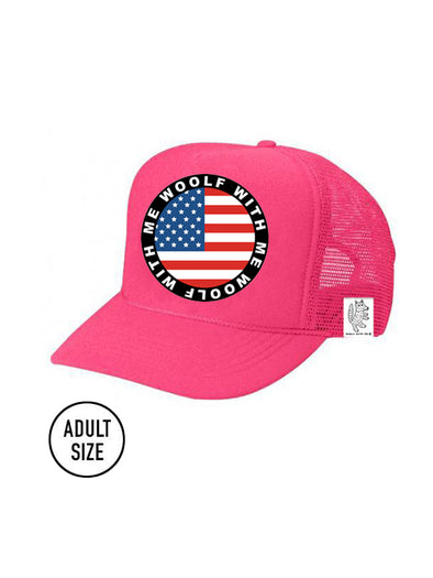 ADULT Trucker Hat USA Flag (NEON PINK)