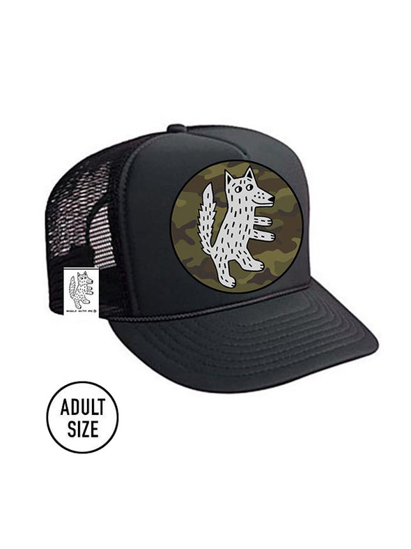 ADULT Trucker Hat Wolf Camouflage // Same Day Shipping!