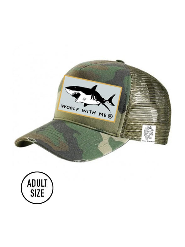 ADULT Trucker Hat Camouflage, Shark // Same Day Shipping!