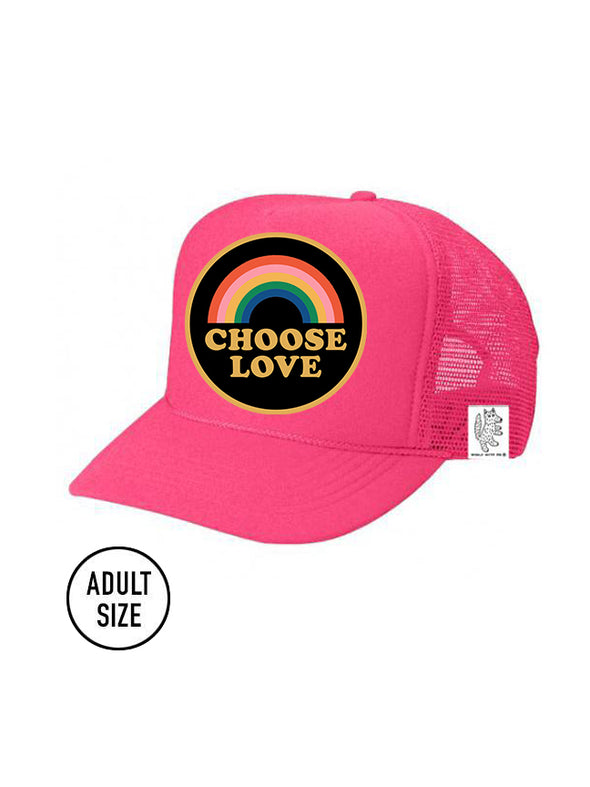 ADULT Trucker Hat Choose Love (NEON PINK) Same Day Shipping!