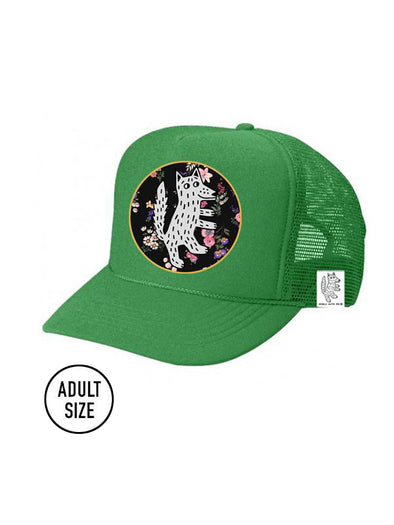 ADULT Trucker Hat Wolf, Floral // Same Day Shipping!