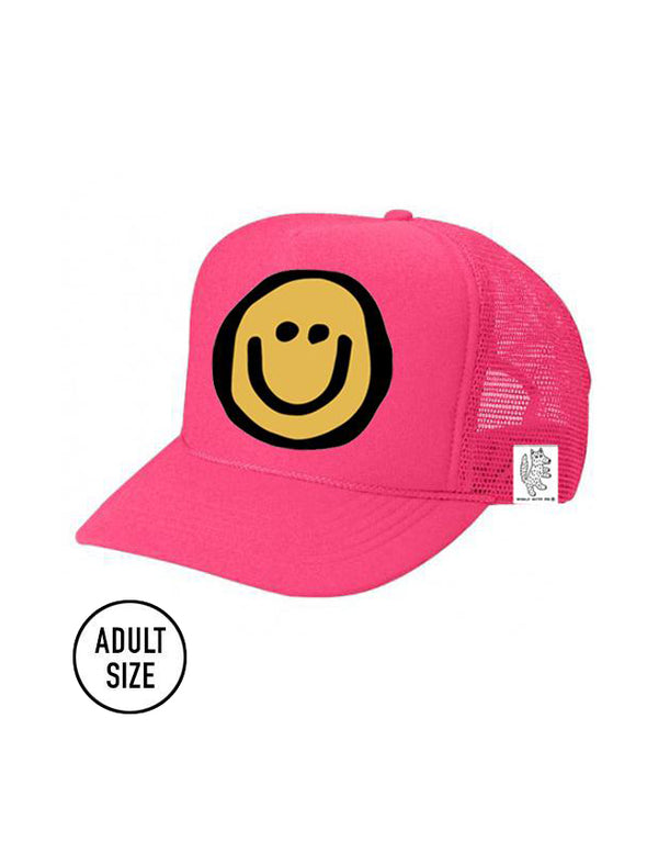 ADULT Trucker Hat Happy Face (NEON PINK) // Same Day Shipping!