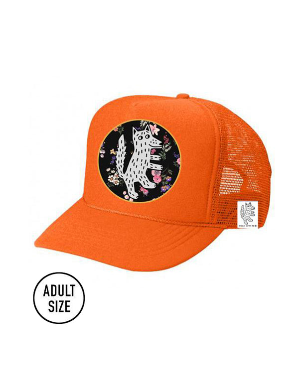 ADULT Trucker Hat Wolf, Floral (NEON ORANGE) // Same Day Shipping!