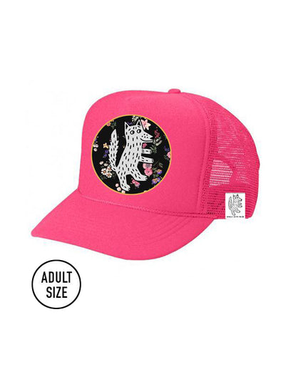 ADULT Trucker Hat Wolf, Floral (NEON PINK) // Same Day Shipping!