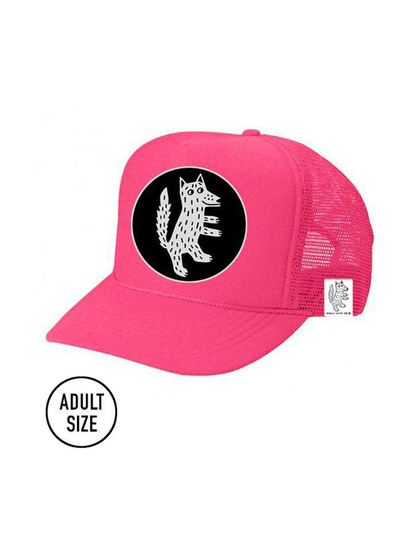 ADULT Trucker Hat Wolf (NEON PINK) // Same Day Shipping!
