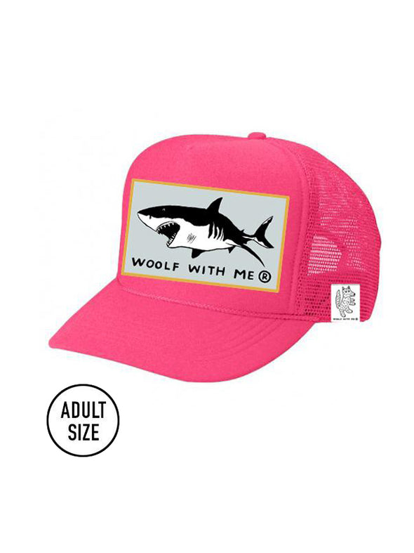 ADULT Trucker Hat Shark (NEON PINK) // Same Day Shipping!
