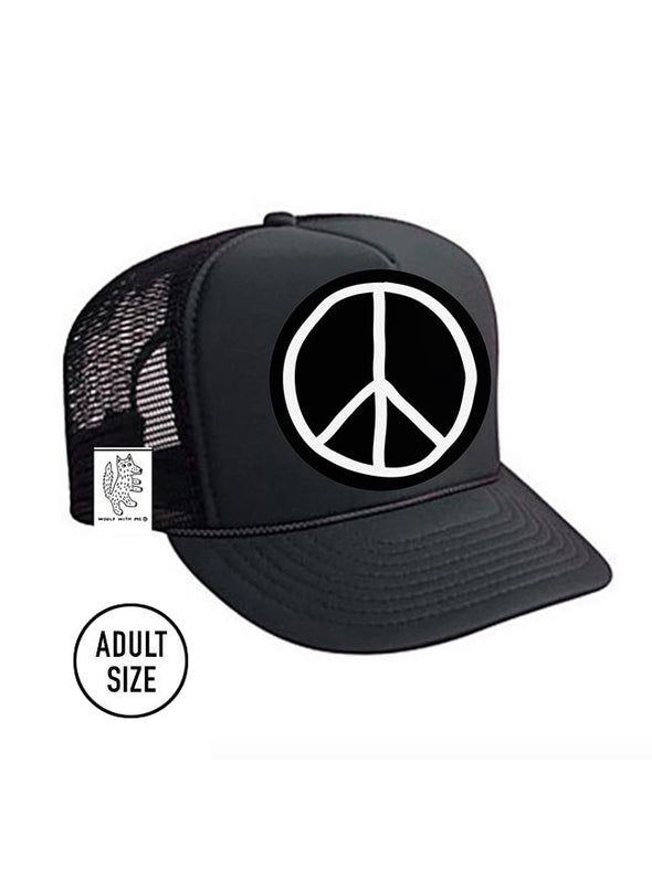 ADULT Trucker Hat Peace Sign // Same Day Shipping!