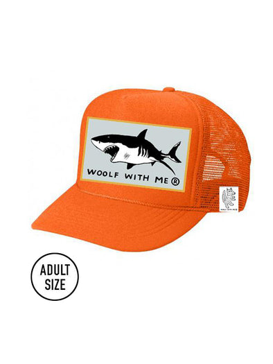 ADULT Trucker Hat Shark (NEON ORANGE) // Same Day Shipping!
