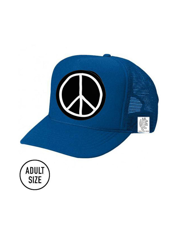 ADULT Trucker Hat Peace Sign color_lapis-blue