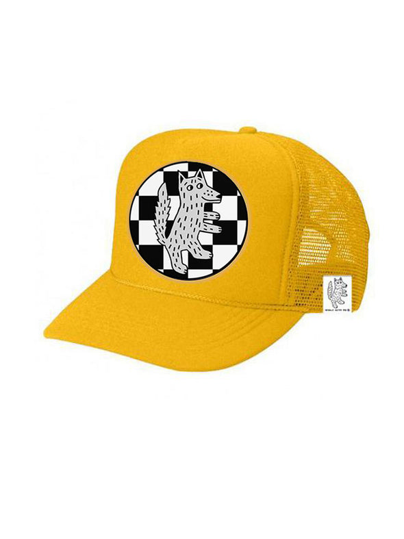 KIDS Trucker Hat Wolf Checkered 5Y-10Y color_gold