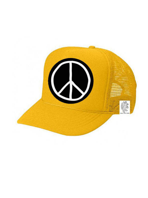KIDS Trucker Hat Peace Sign 5Y-10Y color_gold