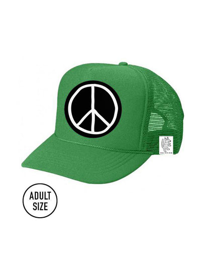 ADULT Trucker Hat Peace Sign color_kelly-green