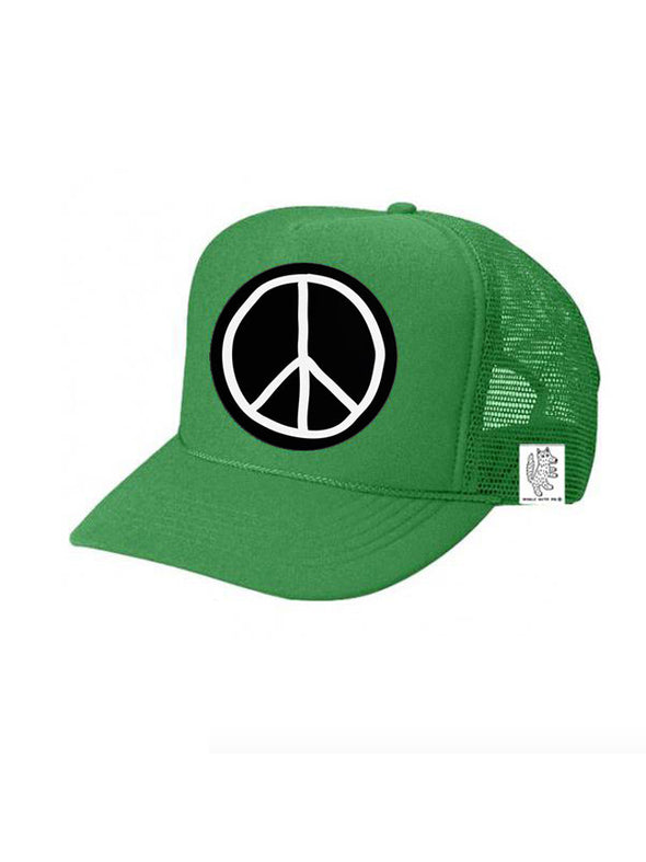 KIDS Trucker Hat Peace Sign 5Y-10Y color_kelly-green