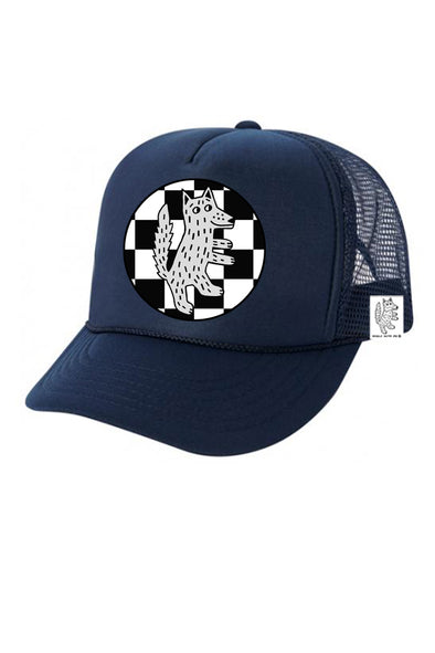 KIDS Trucker Hat Wolf Checkered 5Y-10Y // Same Day Shipping!