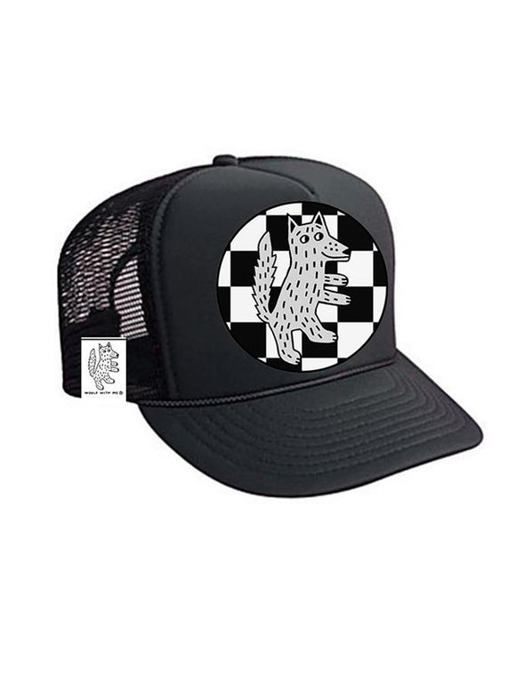 TODDLER Trucker Hat Wolf Checkered 2Y-4Y // Same Day Shipping!