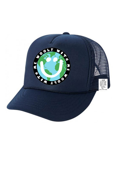 KIDS Trucker Hat Mother Earth/Happy Face 5Y-10Y // Same Day Shipping!