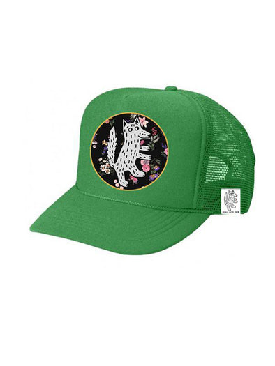 KIDS Trucker Hat Wolf, Floral 5Y-10Y // Same Day Shipping!