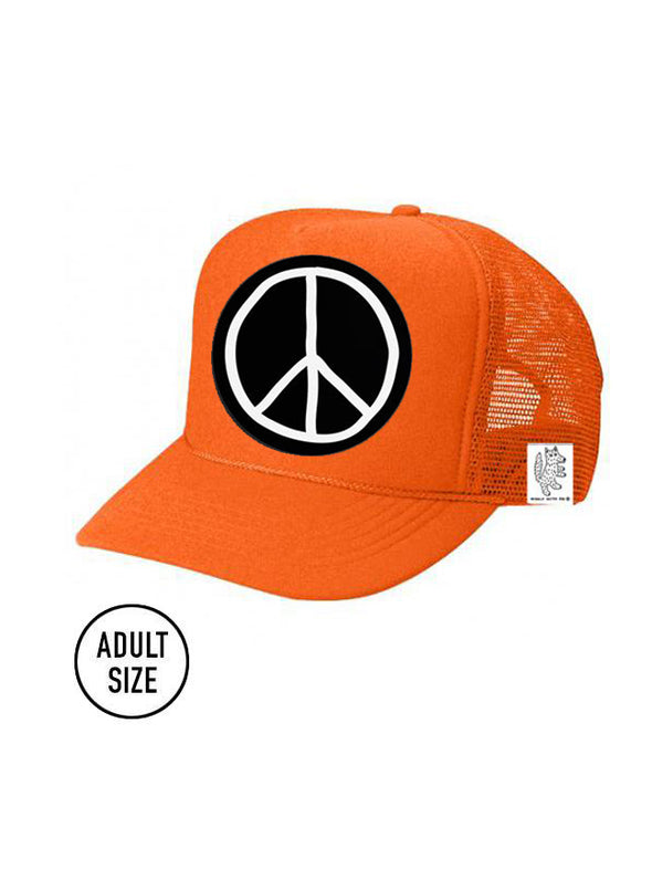 ADULT Trucker Hat Peace Sign (NEON ORANGE) color_orange