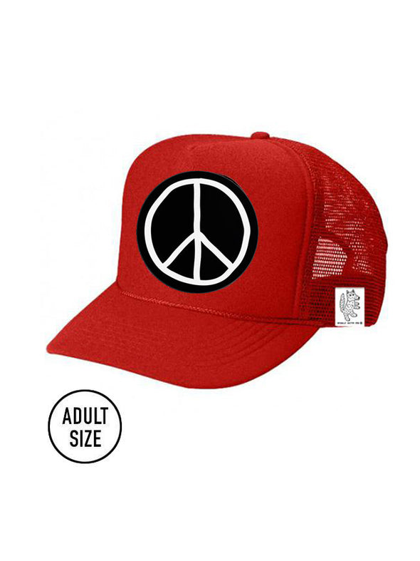 ADULT Trucker Hat Peace Sign color_bright-red