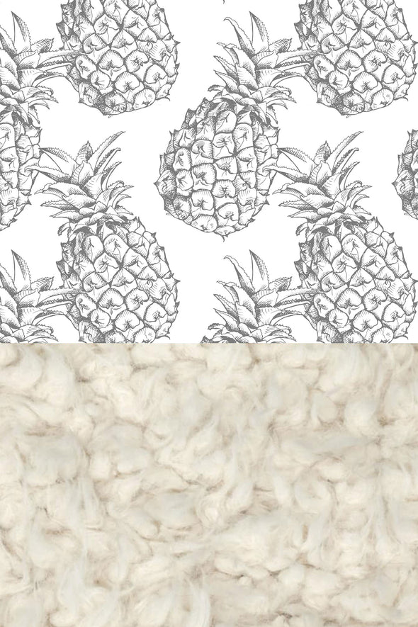 Woolf With Me Faux Fur Baby Blanket Organic Pineapples color_gray