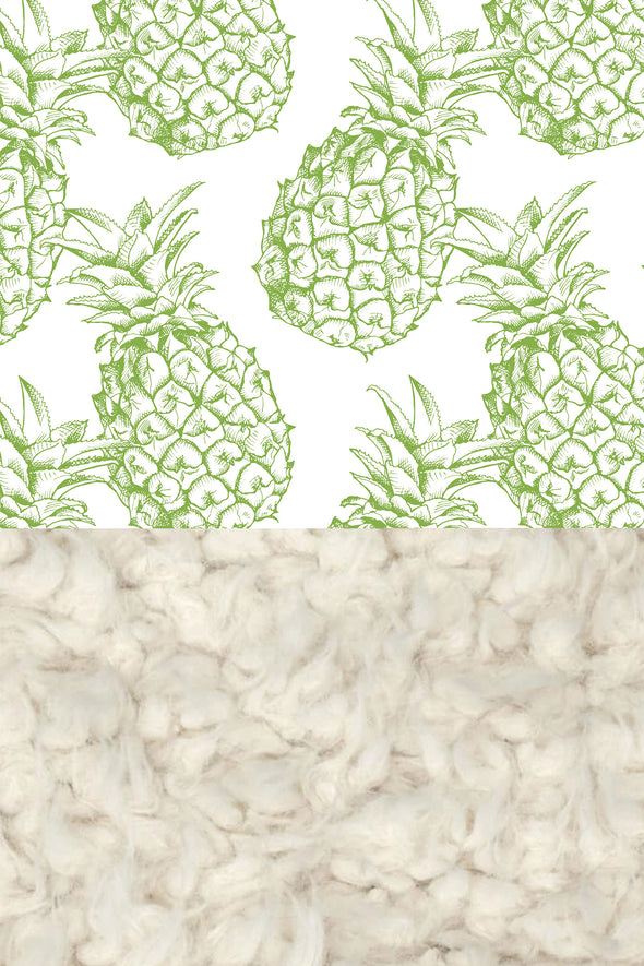 Woolf With Me Faux Fur Baby Blanket Organic Pineapples color_greenery