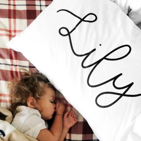 Organic Personalized Pillowcase, Cursive - Woolf With Me® - 1