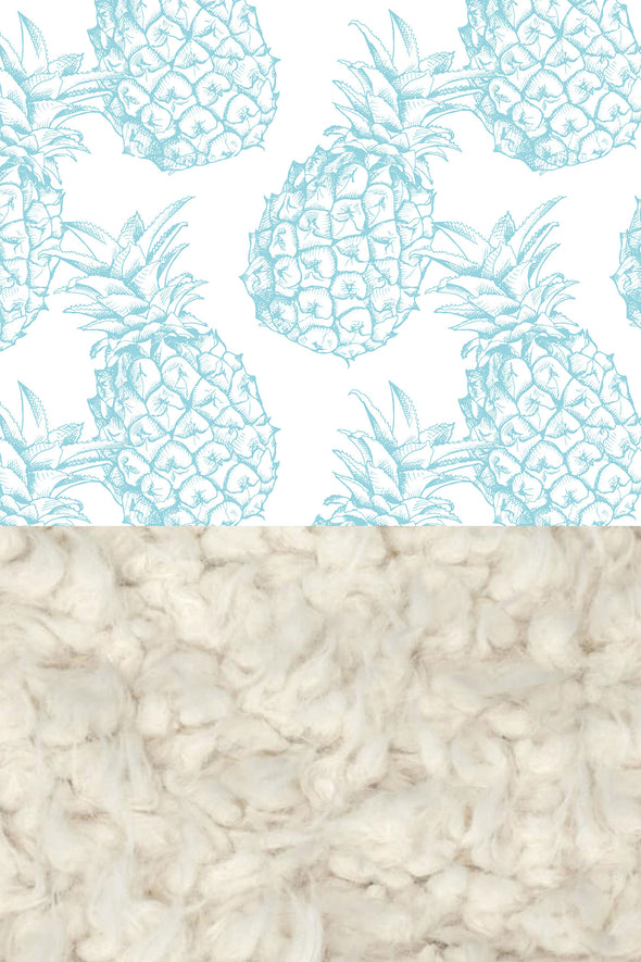 Woolf With Me Faux Fur Baby Blanket Organic Pineapples color_island-paradise