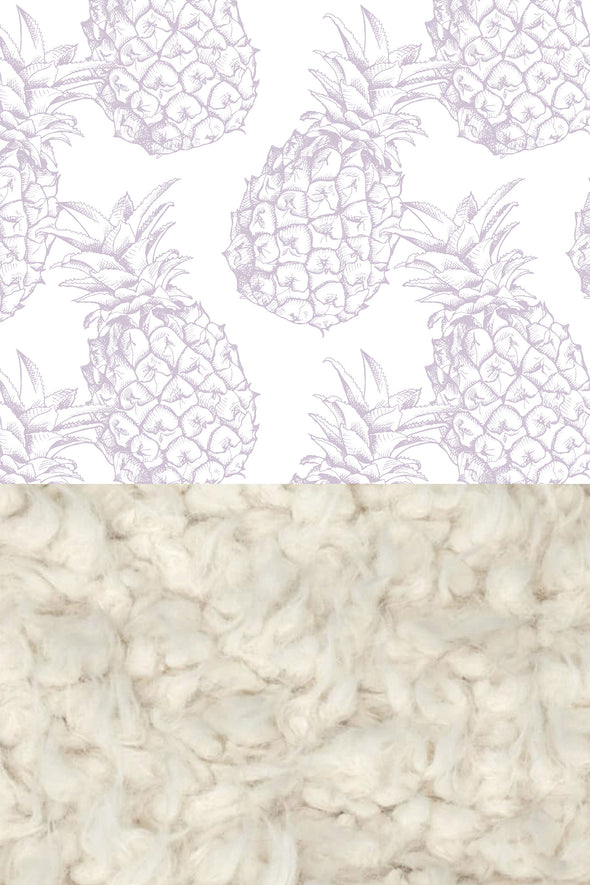 Woolf With Me Faux Fur Baby Blanket Organic Pineapples color_lavender