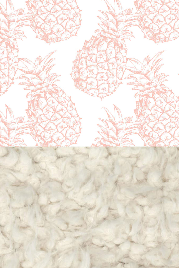 Woolf With Me Faux Fur Baby Blanket Organic Pineapples color_pale-pink