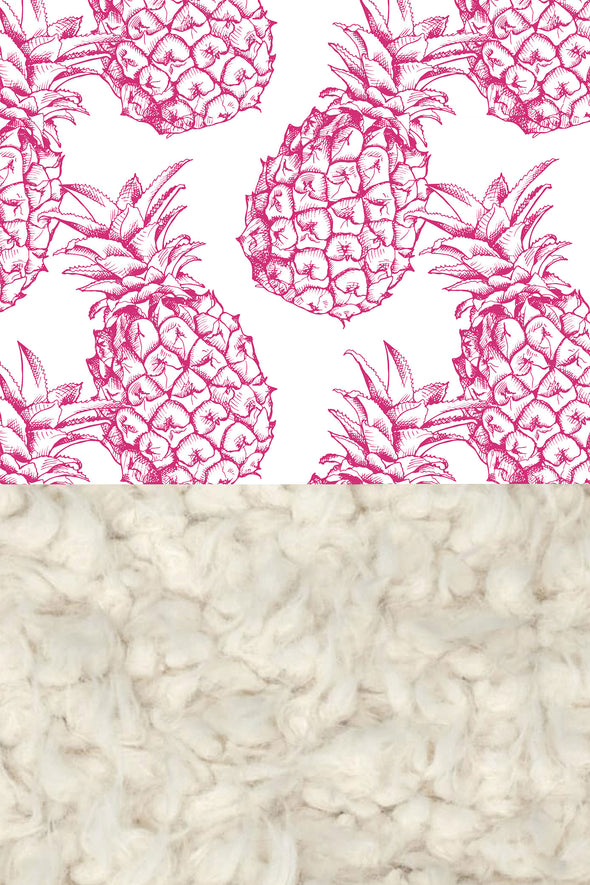 Woolf With Me Faux Fur Baby Blanket Organic Pineapples color_pink-yarrow