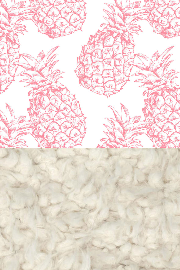 Woolf With Me Faux Fur Baby Blanket Organic Pineapples color_pink