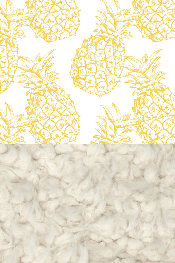 Woolf With Me Faux Fur Baby Blanket Organic Pineapples color_primrose-yellow