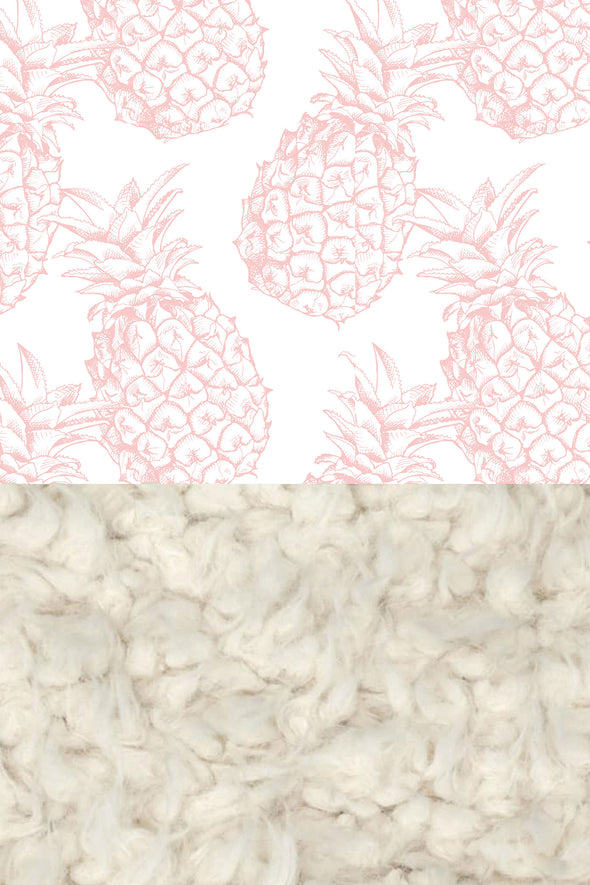 Woolf With Me Faux Fur Baby Blanket Organic Pineapples color_rose-quartz