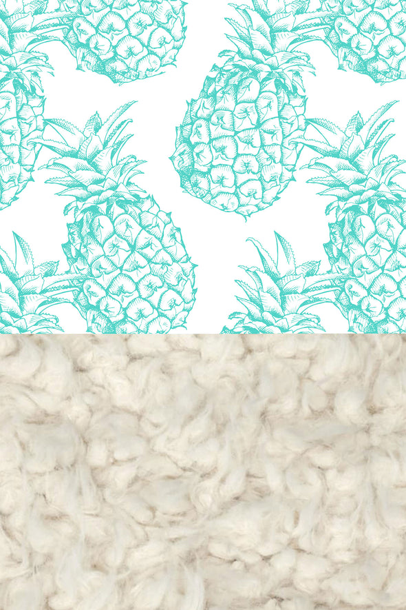 Woolf With Me Faux Fur Baby Blanket Organic Pineapples color_teal