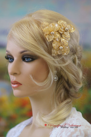 RUSTIC WEDDING HAIR PIECE FLOWER PINS - SET