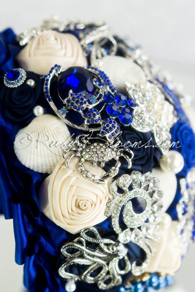 Engagement at Ocean Bridal Brooch Bouquet