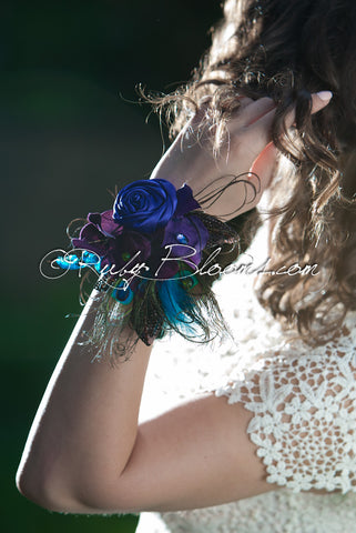 Peacock Jeweled Wrist Corsage