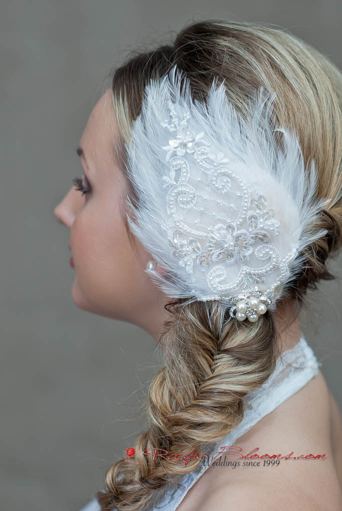 White Feather Hairpiece