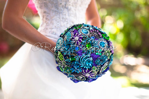 Black Peacock Brooch Bouquet