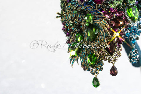 Cascade Peacock Brooch Bouquet