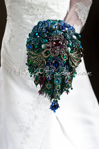 Royal Whimsy cascade jeweled peacock wedding brooch bouquet