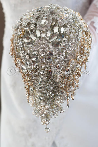 Great Gatsby Old Hollywood Wedding Cascade Brooch Bouquet