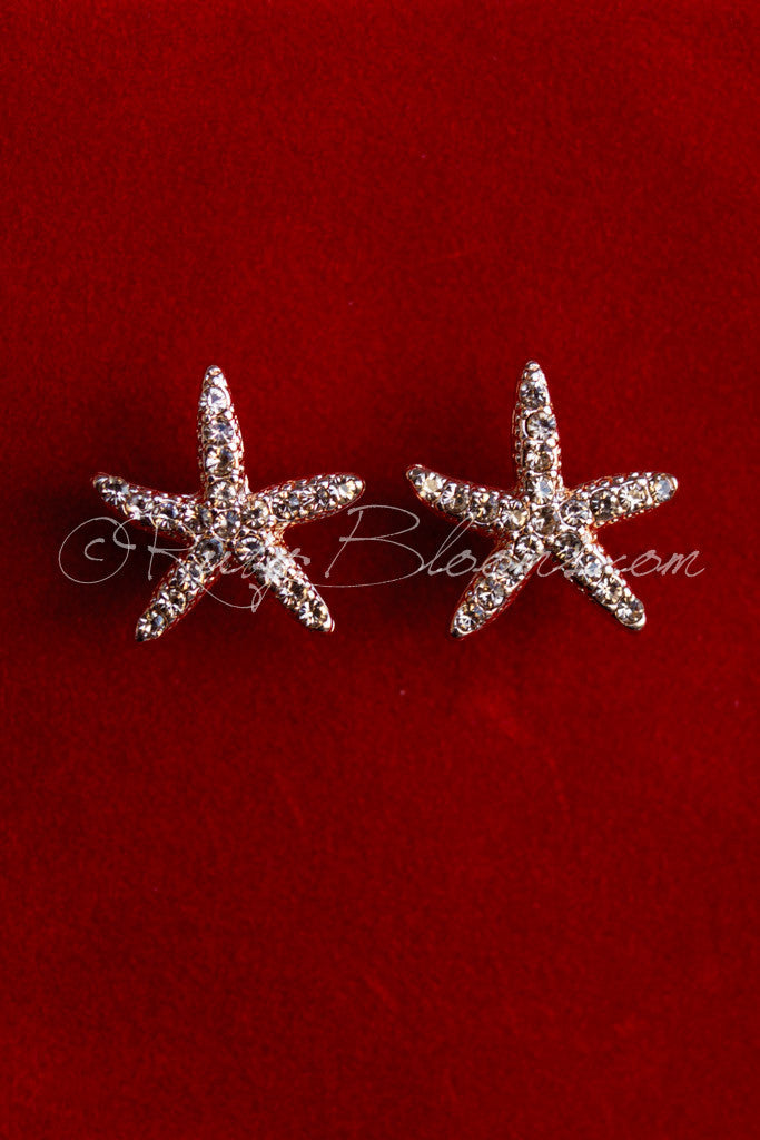 Rose Gold Jewelry Starfish Earrings Beach Wedding by Ruby Blooms