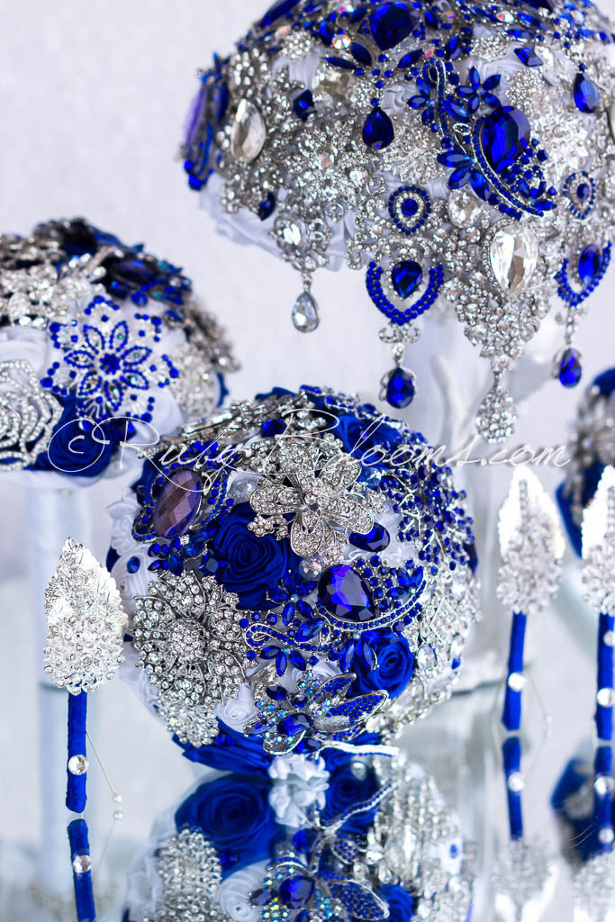 Silver White Royal Blue Brooch Wedding Bouquets Package Crazy N Love