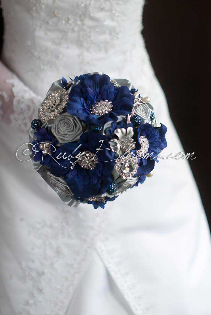 Pewter Cobalt Blue Wedding Brooch Bouquet After Midnight Sale