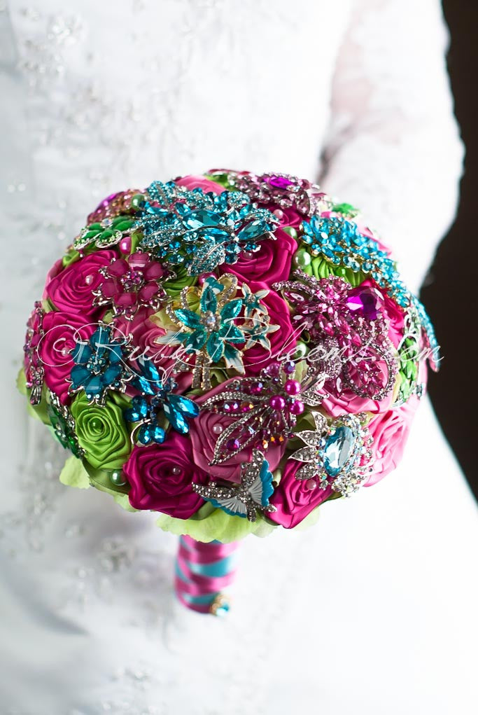 Magenta Fuchsia Pink Brooch Bouquet Wedding Collection By Ruby Blooms