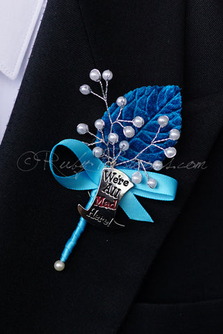 Wedding accessories for brides bridesmaids groom flower girl ring bear groom boutonniere were all mad here pin junglespirit Choice Image