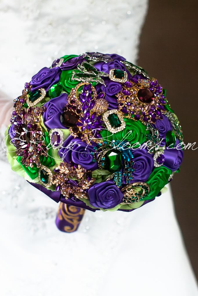 Jewels Of Regency Green Purple Gold Wedding Brooch Bouquet