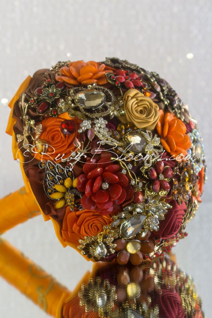 Yellow Orange Brooch Bouquet Wedding Accessories by Ruby Blooms