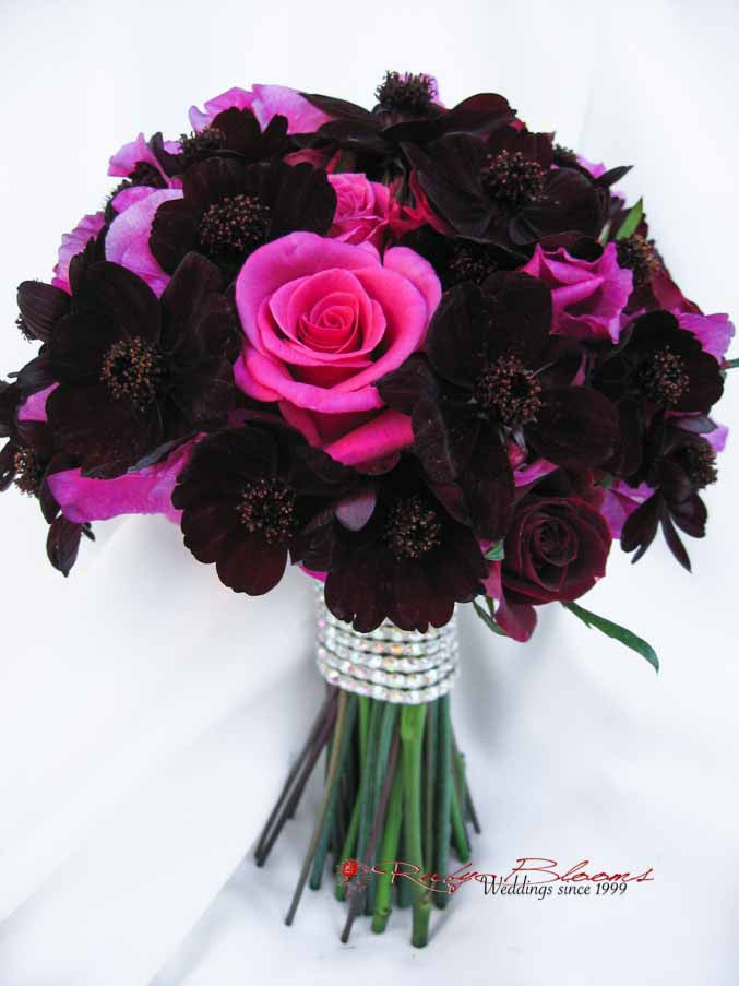 Hot Pink Roses Bridal Bouquet Burgundy Wedding Flowers San Diego